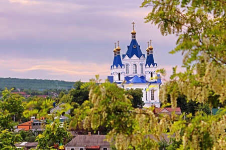 St. Georges Cathedral on the sunset in Kamianets-Podilskyi, Ukraine Stock Photo
