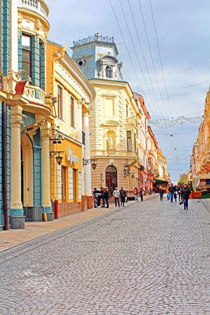 The pedestrian street named Olga Kobylianska. Architecture in the old town Chernivtsi. Western Ukraine