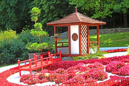 Flower exhibition Japan through the eyes of Ukraine at Spivoche Pole in Kyiv, Ukraine. Flower exhibition is devoted to the Year of Japan in Ukraine