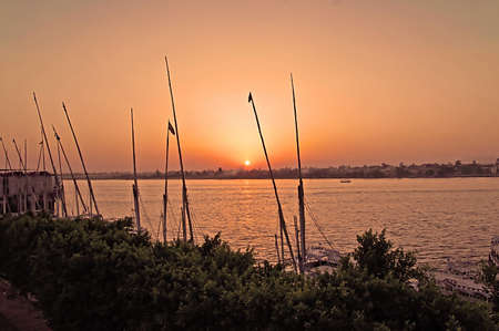 Sunset on the river Nile in Egypt, Africa Stock Photo