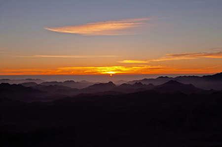 monte sinai: Panorama rocks of holy ground Mount Sinai on the sunrise, Egypt