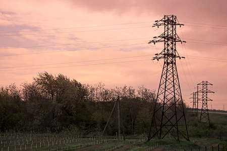 reveille: Landscape of power lines for electricity metal towers and sunrise