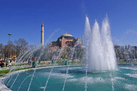View of Hagia Sophia and the fountain, Istanbul, Turkey Editorial