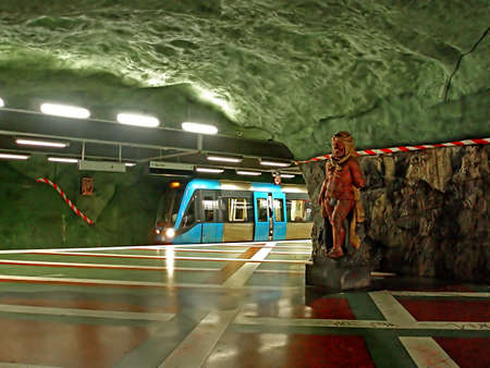 Kungstradgarden station of the Stockholm metro, located in the district of Norrmalm. It is the end station of line 10 and line 11 and was opened on 30 October 1977, as the 91st station in  Stockholm, Sweden