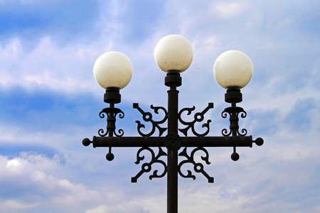 characteristic: Street lamp against blue sky in Chernihiv, Ukraine