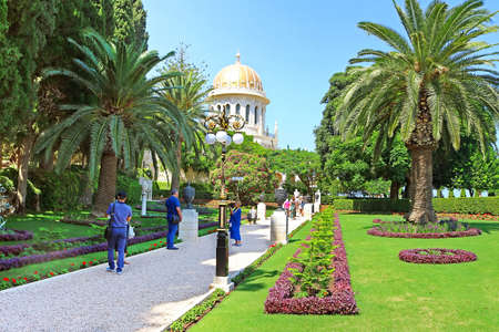 View of Bahai gardens and the Shrine of the Bab on mount Carmel in Haifa, Israel