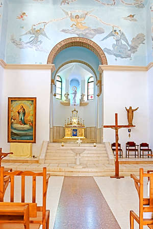 Interior of the church in the monastery of Dir Rafatt , also known as the Shrine of Our Lady Queen of Palestine and of the Holy Land