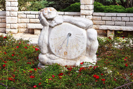 Sundial sculpture in the Rose garden, Park Ramat Hanadiv, Israel. The park is a family vault of Baron Edmond de Rothschild (1845-1934) and Baroness Adelaide de Rothschild (1853-1935) Editorial