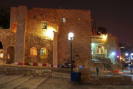 Stone old city Jaffa in Tel Aviv at night, Israel