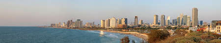Panorama of Tel Aviv, Israel. View from Jaffa on the sunset
