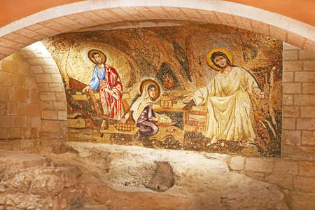 Grotto with Jesus mosaic in Saint Joseph Church,  Nazareth, Israel