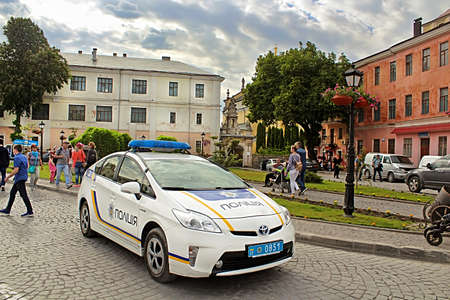 Police car on the street in Kamianets-Podilskyi, Ukraine