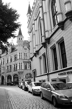 Riga City Construction Board (left) and Large guild building (right). Large guild building was erected in the years 1854 - 1857 after a project by architect K. Bejne in English Gothic style. The building of large guild was erected to house the guild of th Editorial