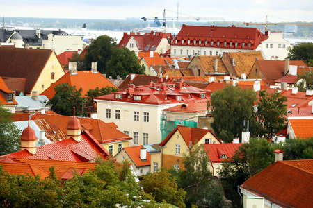 Old buildings with bright roofs in Tallinn, Estonia