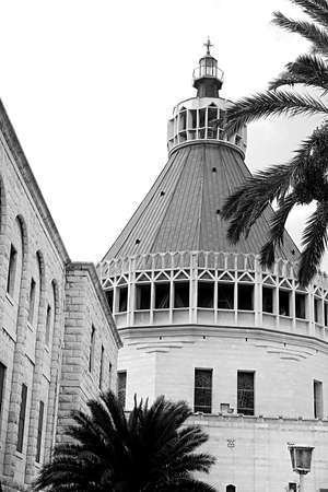 The dome of the Basilica of the Annunciation, Church of the Annunciation in Nazareth, Israel. Black and white filter Imagens