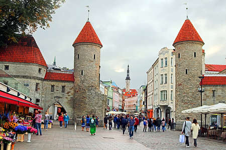 Towers of Viru Gate at the entrance to the old town in the evening, Tallinn, Estonia Editorial