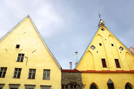 The Great Guild Building (right), Gothic building in Tallinn, in the center of the Old Town on Pikk Street. Since 1952, the building has housed the Estonian History Museum. Monument of architecture, in 1997 entered into the register of cultural heritage o Editorial