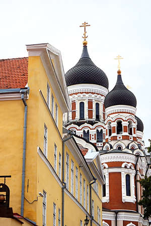 The Alexander Nevsky Cathedral in the Tallinn Old Town, Estonia. It was built to a design by Mikhail Preobrazhensky in a typical Russian Revival style between 1894 and 1900, during the period when the