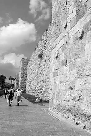 Ancient streets and buildings in the old city of Jerusalem near Jaffa gate. Jaffa Gate is one of the most significant gates to the old city, Israel Editorial