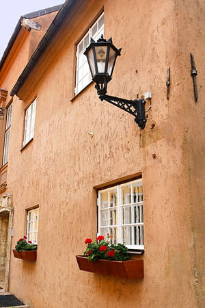 Building facade on the Aldaru Street in the morning, Riga, Latvia Stock Photo