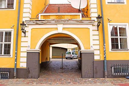 Gate of Jekaba Kazarmas (Jacob Barracks) On Torna Street. The Barracks Were Built In 18th Century At Base Of The City Fortifications, Riga, Latvia Stock Photo