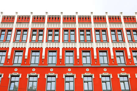 Building facade of 4-stars Astor Riga Hotel, which is situated on Zigfrids Anna Meirovica street – named in honor of the first Minister of Foreign affairs of independent Latvia, Riga, Latvia