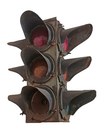 Old vintage traffic light on white background. Isolated