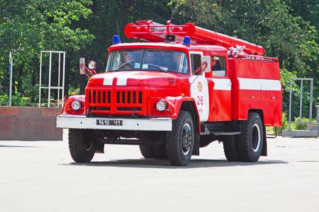 KYIV, UKRAINE - JUNE 30, 2012: Fire truck on a city street