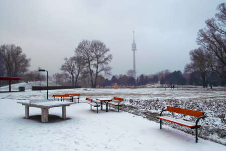 View of Donaupark and Danube tower in winter, Vienna, Austria