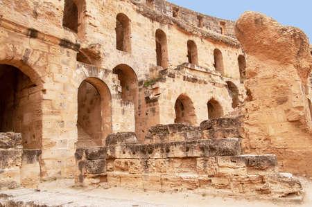 Part of amphitheatre of El Jem in Tunisia, North Africa.