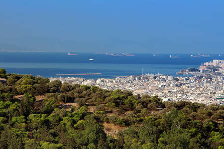 View of part of Athens and Mediterranean sea, Greece