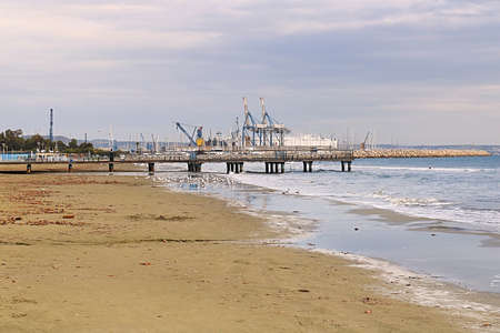 View of a port in Larnaca in the morning, Cyprus