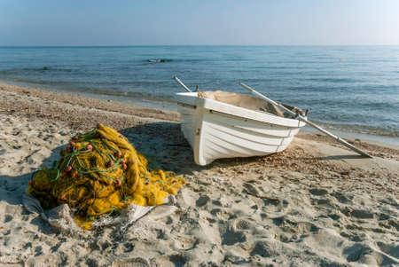 boat on the seashore of Halkidiki