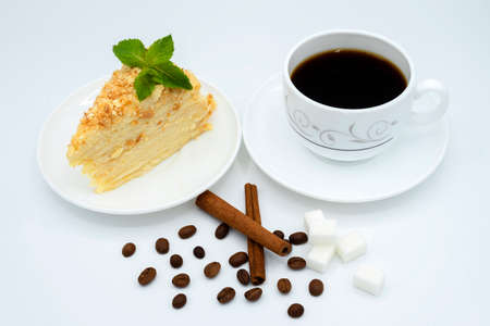 morning cup of aromatic rich coffee and an appetizing cake