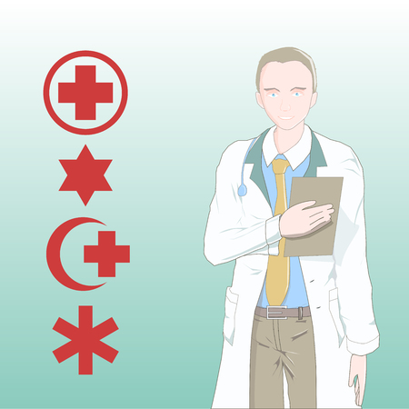 doctor vector: Doctor vector illustration with a medical symbols. Illustration