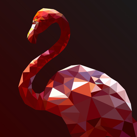 """wild life"": Low Poly Flamingo vector art from my Wild Life low poly series. Illustration"