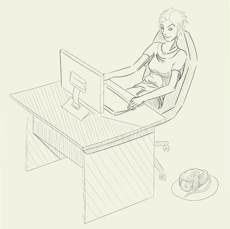 Vector art with girl online Vector
