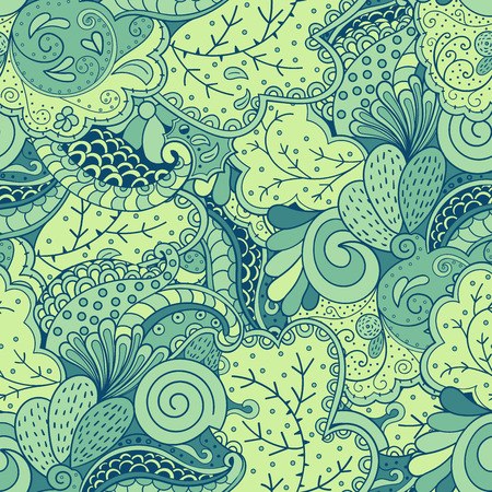 fishing village: Cute seamless pattern with elements of nature and the motives of the sea, green forest and fishing village. Stresses the marine theme, puzzles and travel back to basics.