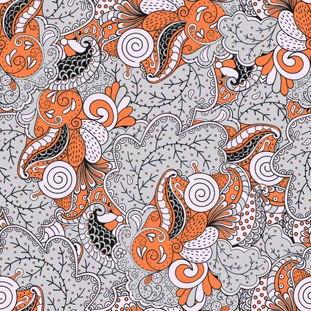 tundra: Elegant seamless pattern with modern soft colors combines the mood of the East and the motives of the coastal peoples of the tundra with marine issues. Easy mystery and abstraction mood. Illustration
