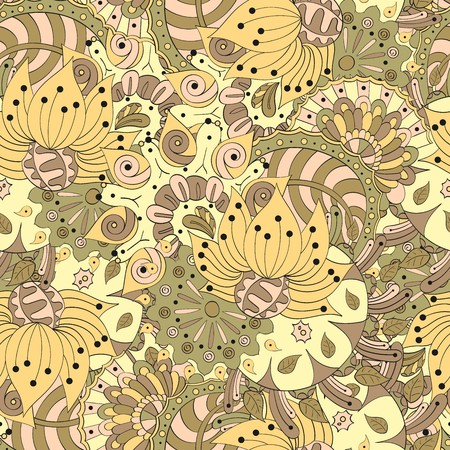 pleasant: Seamless pattern mehndi style reflects the grace of the summer and is made in a soft, pleasant colors.