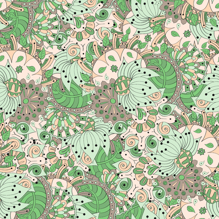reflects: Seamless pattern mehndi style reflects the grace of the summer and is made in a soft, pleasant colors.