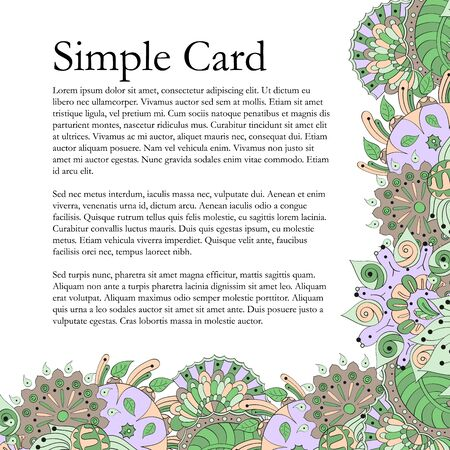 refreshed: Cute card with motifs of the summer, in the style of mehendi. Color pattern, natural mood. Illustration