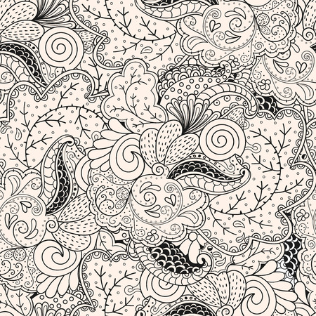tracery: Seamless pattern mehndi style in monochrome colors. Tracery handmade drawings.