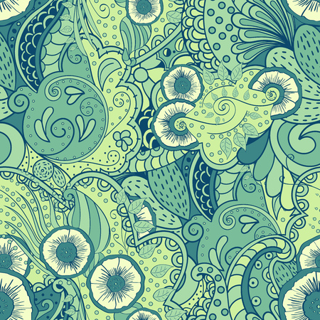 fishing village: Cute seamless pattern with elements of nature and the motives of the sea, green forest and fishing village. Stresses the marine theme, flowers, puzzles and travel back to basics.