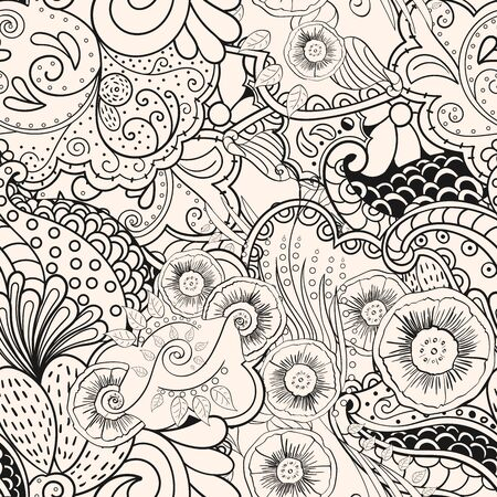 Seamless pattern mehndi style in monochrome colors. Tracery handmade drawings.