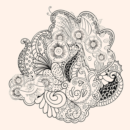 mehendi: Figure mehendi style pattern for application on the skin or on different surfaces. For temporary tattoos. Henna.