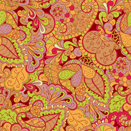 mehendi: Fairgrounds mehendi pattern in style, the colors like this used to paint the boxes and wooden utensils. Suitable for scarves, bed linen and clothes. Seamless texture, handmade. Curved lines. Illustration