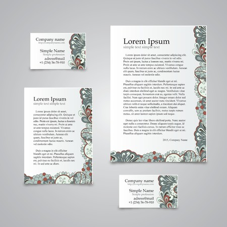 Handmade business tracery card, set composed of two business cards aspect ratio 85x55 and 90x50, sheets A5 and A6 format. Calm blue. Corporate colors and natural motifs. Illustration