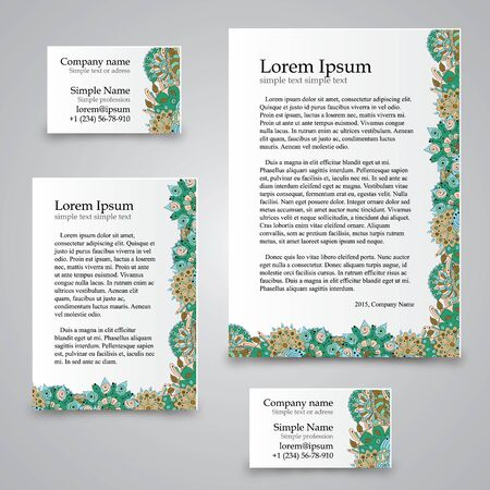 a6: Handmade business tracery card, set composed of two business cards aspect ratio 85x55 and 90x50, sheets A5 and A6 format. Corporate colors and natural motifs.