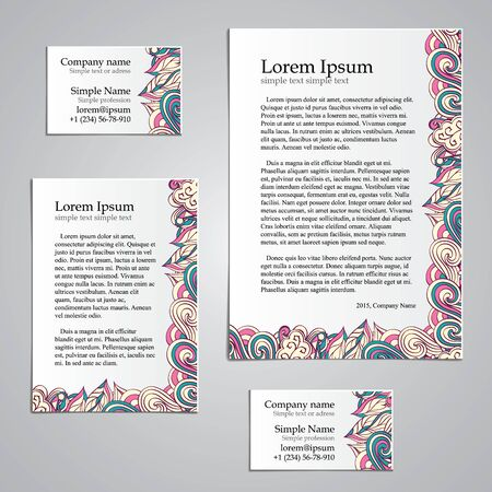 Handmade business tracery card design, set composed of two business cards aspect ratio 85x55 and 90x50, sheets A5 and A6 format. Corporate colors and natural motifs. Illustration